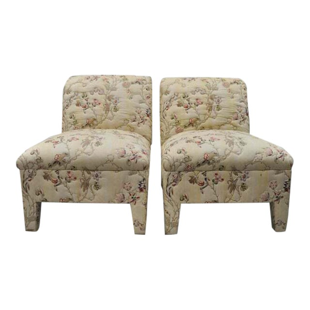 Vintage Upholstered Chinoiserie Slipper Lounge Chairs- A Pair For Sale