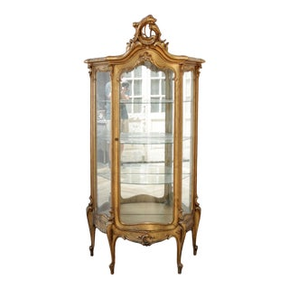 Early 20th Century Louis XV Style Giltwood Carved Vitrine Display For Sale