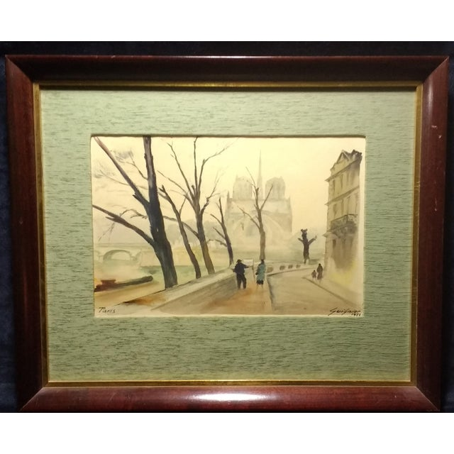 Paris Watercolor by Fernand Guignier, 1953 - Image 1 of 7