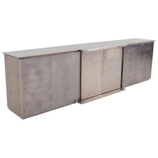 Belgo Chrome Credenza in Brushed Stainless Steel, 1980s For Sale