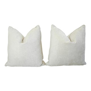 Boho Chic White Crocodile Velvet Feather/Down Pillows - Pair For Sale