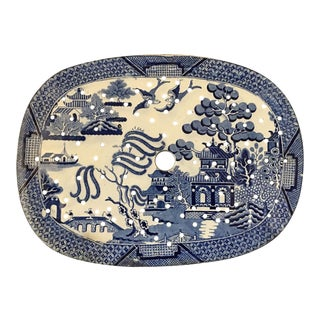 Antique English Meat Platter Drainer Blue Willow Transferware Oval Plateau #3 For Sale