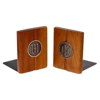 1960s Walnut Monogrammed Bookends - a Pair
