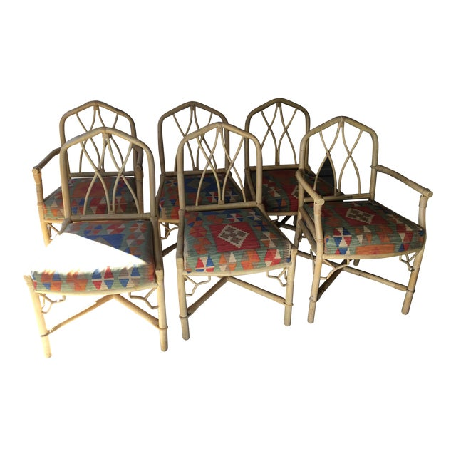 Bamboo Dining Chairs, Set of 6 For Sale