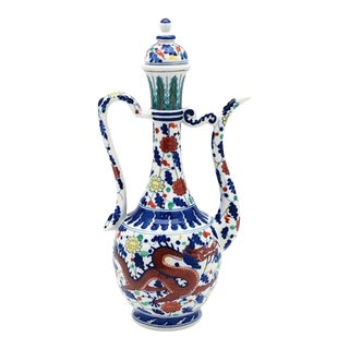 Mid 20th Century Chinese Porcelain Doucai Ewer With Qianlong Reign Mark (Pitcher) For Sale