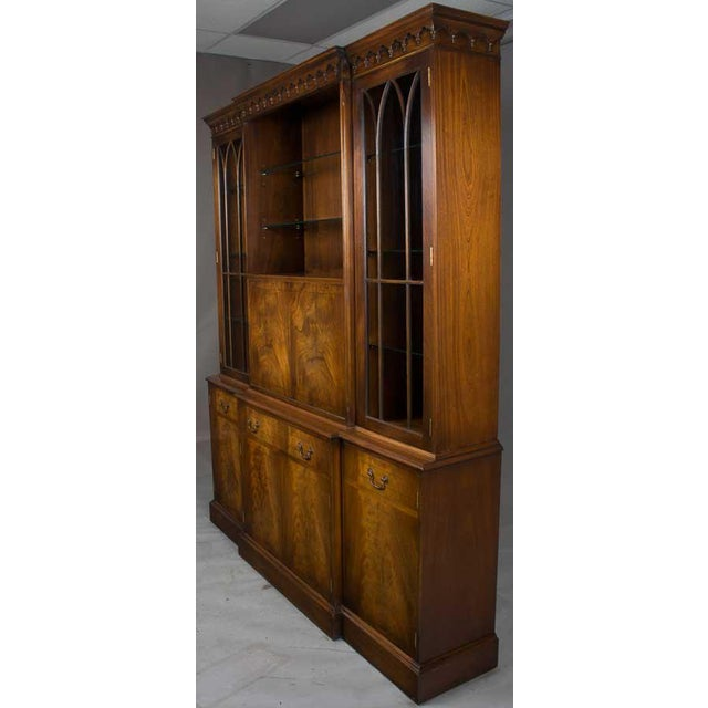 4da38dcc0da9d Brass Bevan Mahogany Breakfront Bookcase With Liquor Cabinet Bar For Sale -  Image 7 of 13