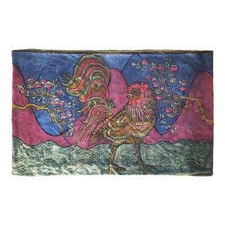 Rooster Silk Velvet Pillow Cover For Sale
