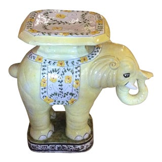 Vintage Terra Cotta Yellow Floral Elephant Garden Stand Stool Bench Side Table For Sale