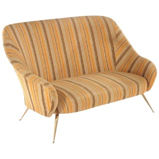 1960s Mid-Century Modern Settee With Bronze Legs For Sale