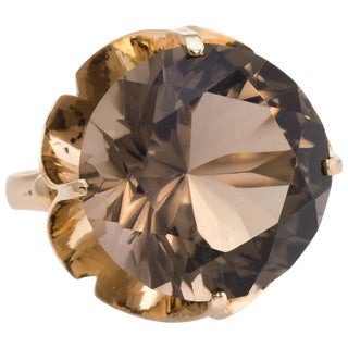 Smoky Quartz Cocktail Ring Vintage 14 Karat Gold Statement Jewelry Estate Fine For Sale