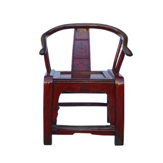 Red Lacquer Oriental Horse Shoe Curve Shape Accent Fusion Chair For Sale