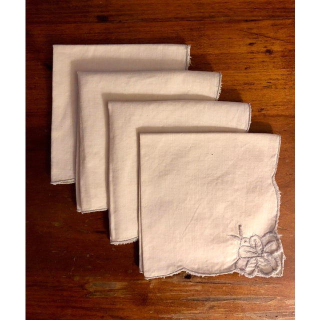 Gray Vintage Beige and Gray Cocktail Napkins - Set of 4 For Sale - Image 8 of 8