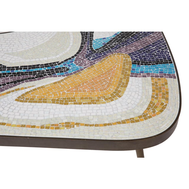 Abstract Margot Stewart Mosaic & Patinated Brass Free-Form Coffee Table For Sale In Phoenix - Image 6 of 7
