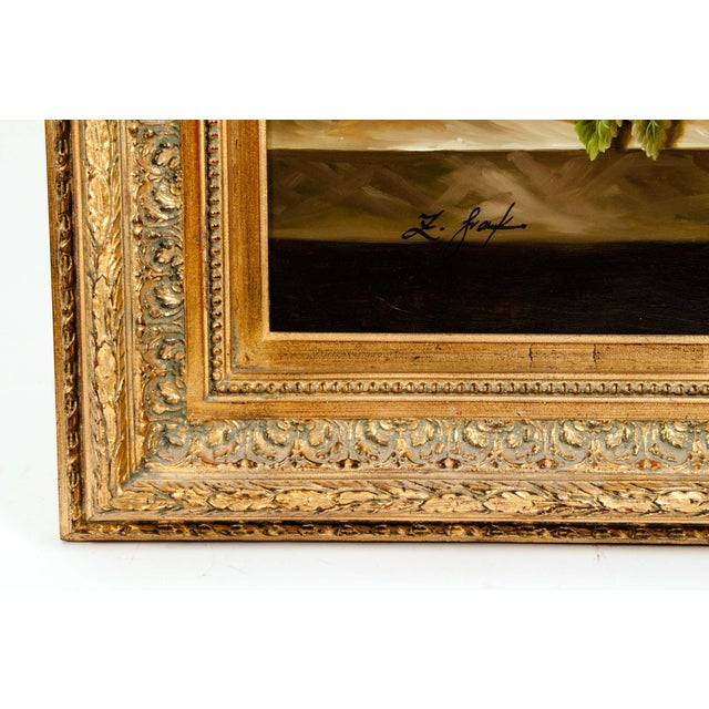 Mid 20th century gilt wood frame oil on canvas still life painting . The painting is in great condition . Artist signature...
