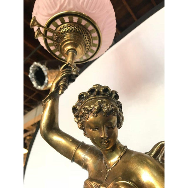 Gold Large Duplex Bronze Figure Woman and a Child Holding a Custom Glass Shade For Sale - Image 8 of 13