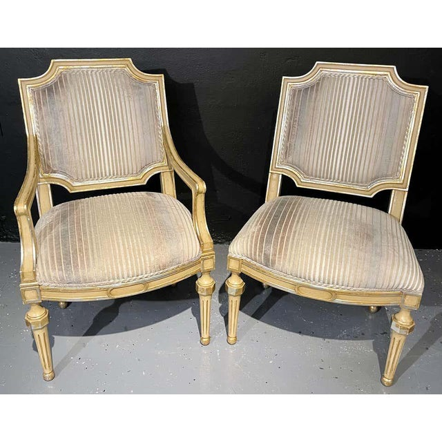 Set of Eight Louis XVI Style Dining Chairs Painted and Parcel-Gilt, Jansen Style For Sale - Image 11 of 13