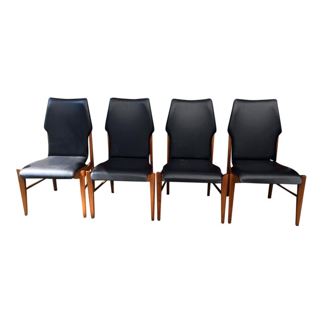 Set of 4 Mid Century Modern Lane High Back Walnut Dining Chairs For Sale
