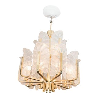 Carl Fagerlund Orrefors Acanthus Leaf Chandelier For Sale