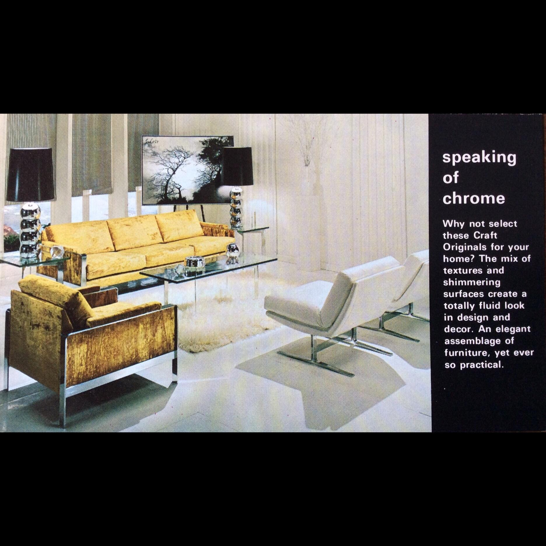 Adrian Pearsall For Craft Associates Flat Bar Chrome Sofa And Chair   Image  9 Of 10