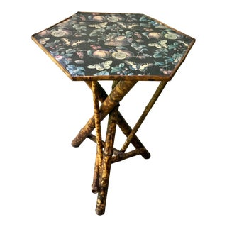 1910s Victorian Scorched Bamboo Side Table With Butterfly Decoupage For Sale
