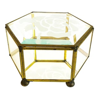 Vintage Brass and Glass Hexagonal Rose Box For Sale