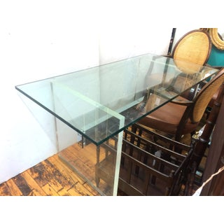 Charles Hollis Jones 1960s Mid Century Modern Lucite and Chrome Base Desk With Bubble Glass Top Preview