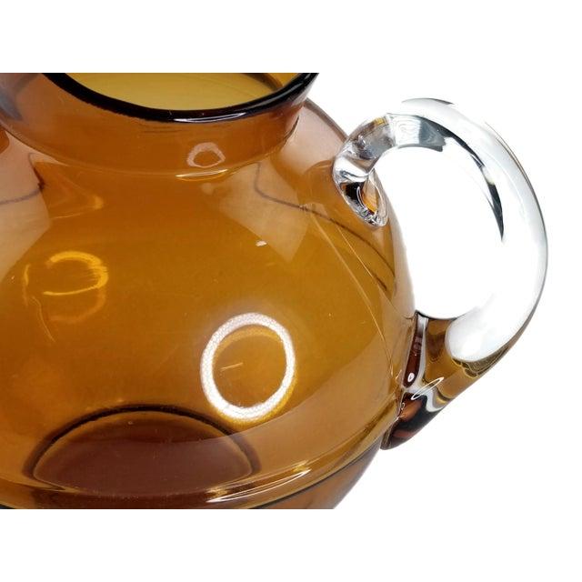 Mid-Century Modern Amber Art Glass Hand Blown Iced Tea Lemonade Set - Set of 6 For Sale In San Francisco - Image 6 of 9