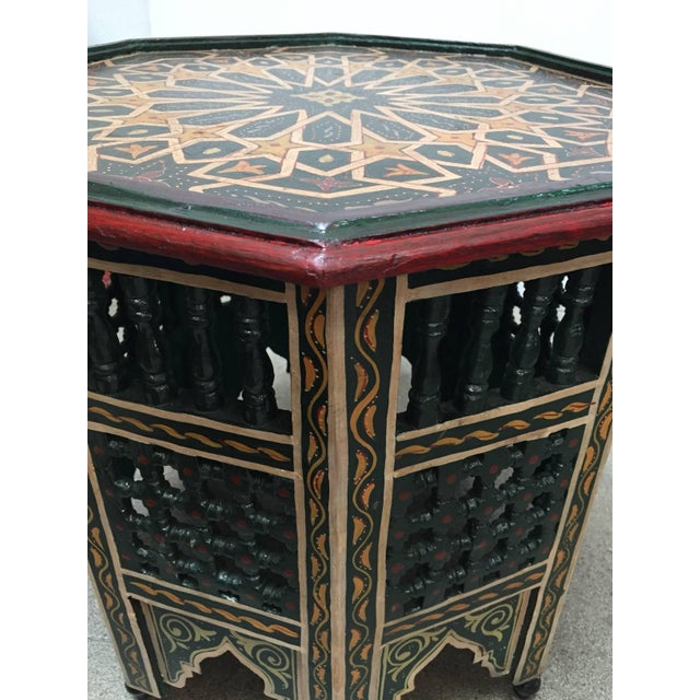 Mid 20th Century Moroccan Hand-Painted Dark Green Octagonal Side Table For Sale - Image 5 of 10