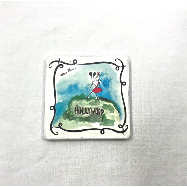 Set of six ceramic tile coasters featuring vacationist motif in a french style. Cork backing, in very nice, like new...