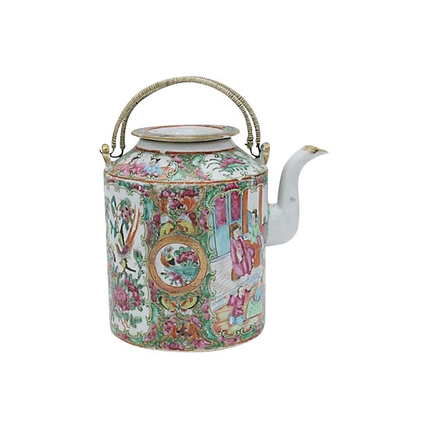 Antique Chinese Famile Rose Teapot For Sale