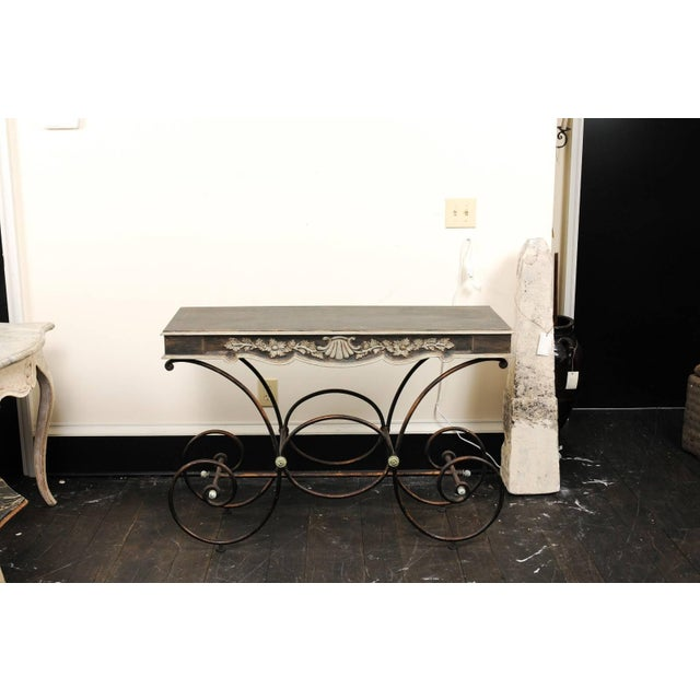 French Vintage French Baker's Table With Painted Wood Top and Scrolled Iron Base For Sale - Image 3 of 11