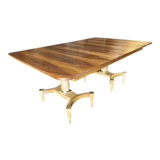 1950s Mid Century Oak Dining Table W/ Double Pedestal Base For Sale
