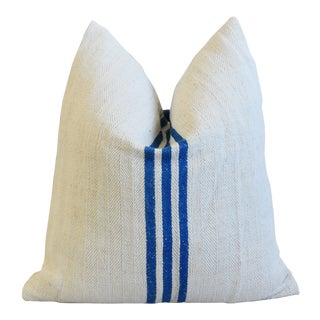 """French Blue Striped Grain Sack Feather/Down Pillow 20"""" Square For Sale"""