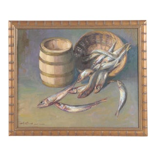 """Original """"Fish in a Basket"""" Still Life Oil Painting Signed by Chuck Fee Wong For Sale"""