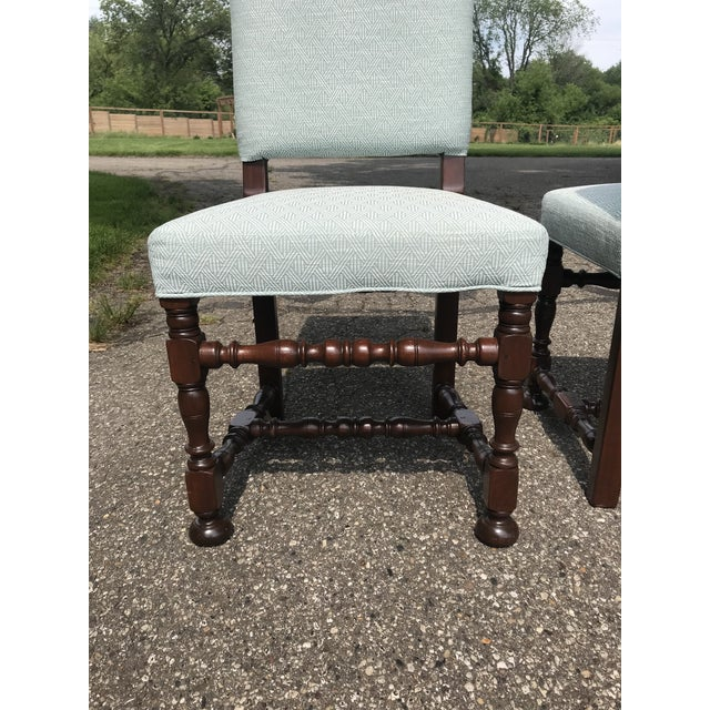 Art Deco White Upholstered Baroque Walnut Dining Chairs - Set of 6 For Sale - Image 3 of 12