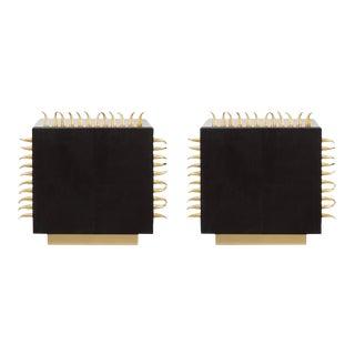Black Leather Side Tables - Set of 2