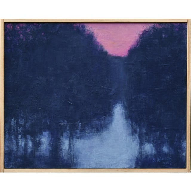 """Stephen Remick """"Snowy Intersection at Dawn"""" Small Contemporary Painting For Sale"""