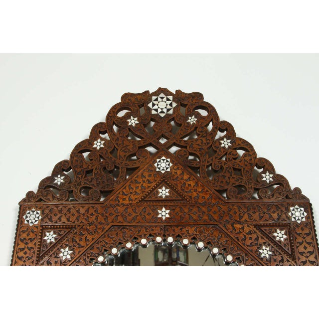 Mid 19th Century Antique 19th Century Syrian Damascus Mirror With Mother-Of-Pearl For Sale - Image 5 of 9