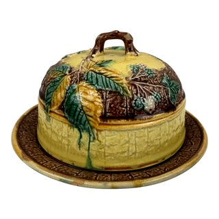 Antique English Majolica Cheese Dome, Dated 1881 For Sale