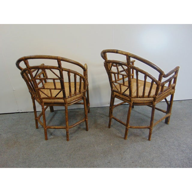 Mid 20th Century Mid Century Chinoiserie Bamboo Chairs - a Pair For Sale - Image 5 of 7