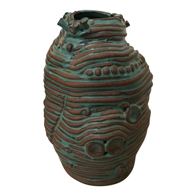 Turquoise Coiled Ceramic Vase - Image 1 of 9