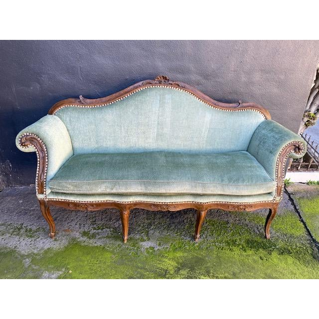 Late 18th C. To Early 19th C. French Walnut Settee With Green Chenile For Sale - Image 10 of 12