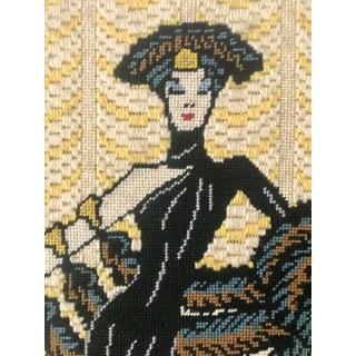 Vintage Wall Art Needlepoint Erte's Symphony in Black or Gloria Swanson? Preview