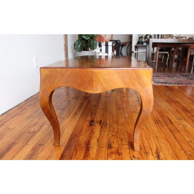 Vintage Italian Walnut Cocktail table with inlaid marquetry top and cabriole legs.