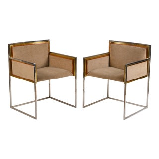 Exceptional Pair of Armchairs by Alain Delon for Maison Jansen For Sale