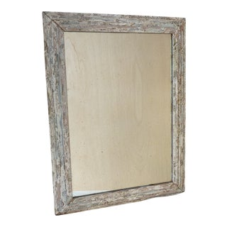Brutalist Distressed Wooden Frame Wall Mirror For Sale