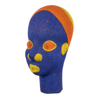 Bamun Cameroon African Beaded Head on Custom Stand For Sale