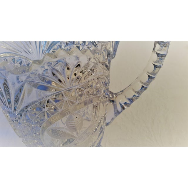Mid 19th Century Simply Beautiful Etched Bird Motif Clear Cut Glass Footed Pitcher For Sale - Image 5 of 12