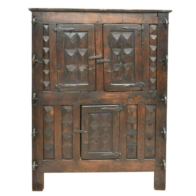 Rustic 18th Century Continental Spanish Three Door Cabinet For Sale