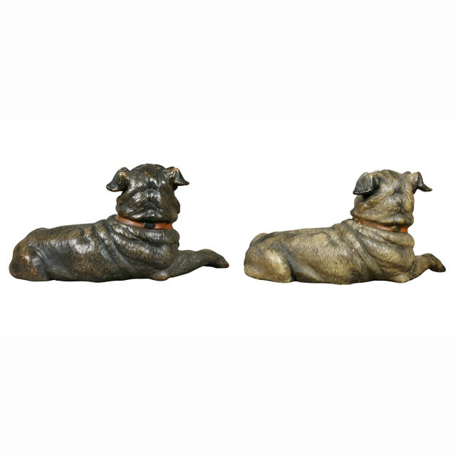 Ceramic Reclining Pug Dogs Terracotta Figures - a Pair For Sale - Image 7 of 10